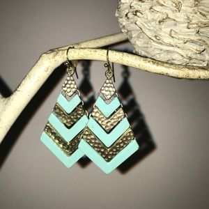 Turquoise and gold colored Dangle Drop Earrings